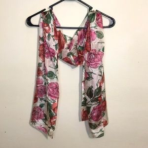 Pink and red rose/floral sheer scarves